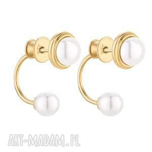 złote kolczyki z perłami swarovski® crystal - pozłacane