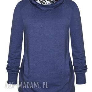 hand-made bluzy długa dresowa bluza tunika damska z golfem, jeansowa tubą, niebieska