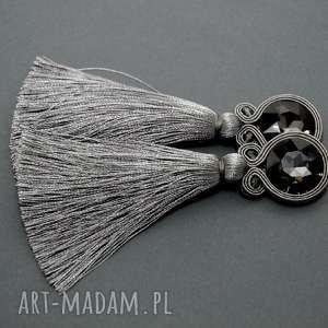 klipsy sutasz z chwostem, sznurek, eleganckie, wiszące, wieczorowe, długie, chwost
