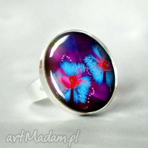 kwiaty elfÓw duży nowoczesne elegancki pierścionek okrągły fiolet i