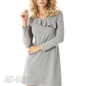 sukienki sukienka z falbanką przy dekolcie szara 009, elegancka sukienka, modna
