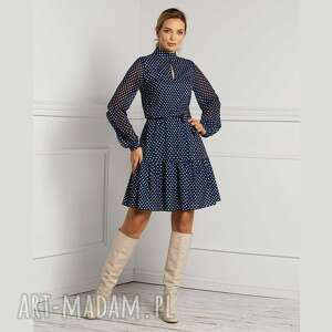 sukienka imar mini jolanda, ze stójką, groszki, grochy