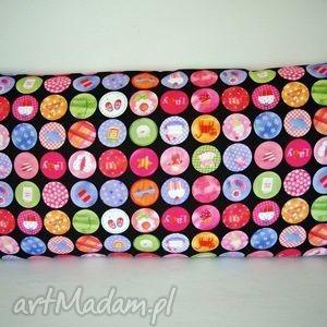 poduszka w kolorowe kółka, kołka poduszki dom