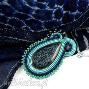 Granatow-błękitna brosza soutache - ,broszka,przypinka,ceramika,sutasz,soutache,