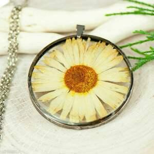 naszyjniki naszyjnik z kwiatów w cynowej ramce z408, żywicy