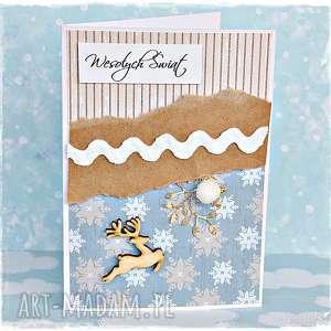 prezent świąteczny Wesołych Świąt! Kartka z reniferem, kartka, boże-narodzenie