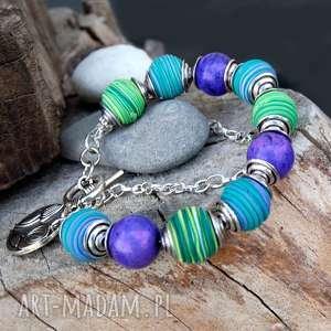 bransoletka z howlitów na codzień c505 - bransoletka modowa, kolorowa bransoletka