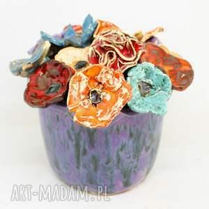 iguana art wielki flowerbox i kwiaty ceramiczne 15szt handmade piękny wyjątkowy
