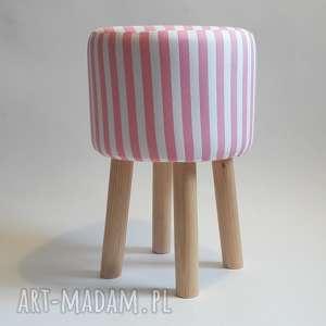 pufa różowe paseczki 2, puf, stołek, taboret, ryczka, hocker, siedzisko