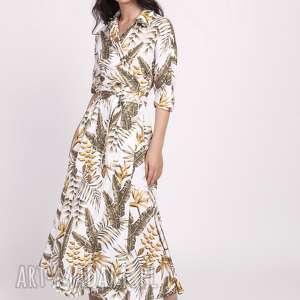 długa sukienka, suk171 liście ecru, maxi, kimono, wesele, kieszenie