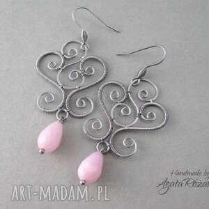 Kolczyki z różowym Jadeitem, stal chirurgiczna, wire wrapping, wire,
