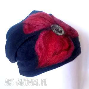 czapka wełniana damska granat, wełna, kwiaty, zima, ciepłe, kolorowe
