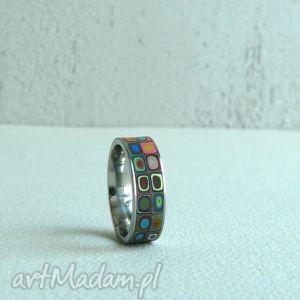 kolorowa obrączka ze stali - obrączka, kolorowe, wzorzyste, geometryczne, stal