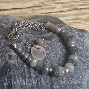 bransoletka ze srebra i labradorytu, srebrna, labradotyt, biżuteria