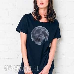 moon oversize t-shirt, oversize, czarny, tshirt, casual, bawełna, moda