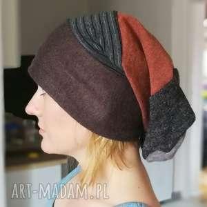 czapka smerfetka długa ciepła - smerfetka, długa, czapka, etno, boho
