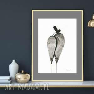 grafika czarno-biała 30x40, plakat a3, malowany ręcznie, abstrakcja minimalizm