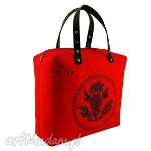 kufer czerwony-oset, torebkafilcowa, modnatorebka, royaltrend, filc, skóra