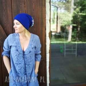 czapka damska niebieska etno miękka, czapka, etno, boho, dzianina, kolorowa, stylowa