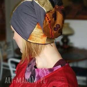 czapki czapka patchworkowa damska etno, patchwork, czapka, kolorowa