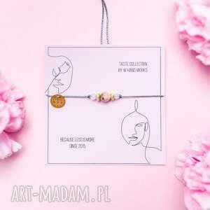 bransoletka opal morganit na sznurku, sznurkowa, sznureczkowa, delikatna