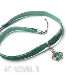choker emerald - naszyjnik , srebro, choker, szmaragd, aksamitka, oksydowane