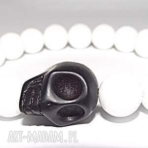 czaki bransoletki black white, skull, czaszka, kamienie, black, glamour