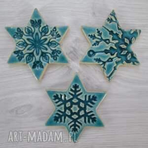 ceramika zestaw 3 gwiazdek magnesów, śnieżynki, upominki świąteczne