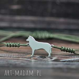 Siberian husky - bransoletka, srebro 925 pasja i pedzlem