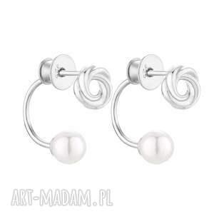 sotho srebrne kolczyki z węzełkami i perłami swarovski®