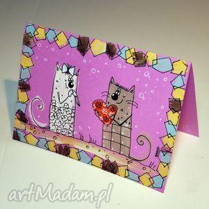 ręcznie wykonane scrapbooking kartki walentynki koty1