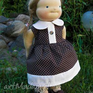 Sukienka dla lalki 38-44 cm - ,sukienka,lalka,ubranko,miś,waldorfska,rzepy,