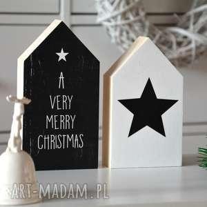 świąteczny prezent, 2 domki drewniane, wianek, domki, domek, drewna