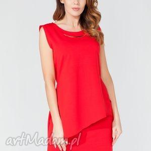 tunika t116 kolor czerwony - tessita, elegancka, asymetryczna, rozcięcia