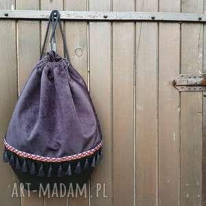 zapetlona nitka plecak worek black boho, plecak, worek, etno, czarny