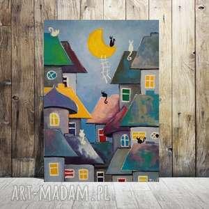 bajkowe miasteczko -obraz akrylowy, obraz, miasteczko, akryl, koty