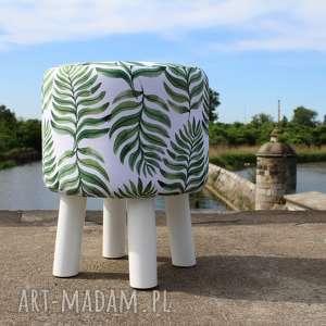 Pufa Liść Palmy Białe Nogi - 36 cm, puf, stołek, ryczka, siedzisko, hocker,