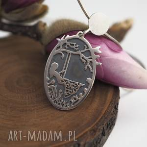 Wiosna na huśtawce-sentymentalny srebrny wisior, romantyczny, sentymentalny, vintage