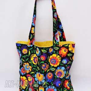 ręcznie robione torba na zakupy shopperka ekologiczna zakupowa ramię bawełniana łowicz