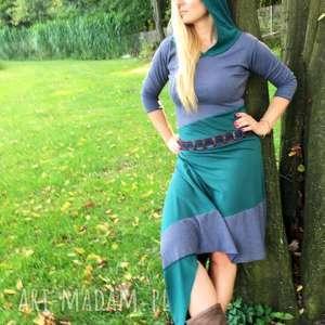 sharonire- sukienka asymetryczna, maxi, wymyślna, dresowa, oryginalna