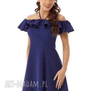Ella Dora: Rozkloszowana sukienka w stylu hiszpanki granatowa