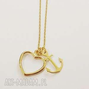 Naszyjnik serce i kotwica, serce, celebrytka, naszyjnik, łańcuszek, love