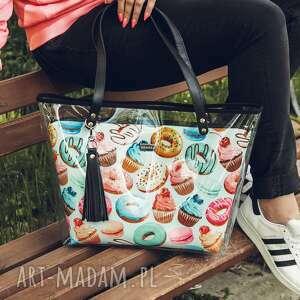 na ramię torebka delise 2w1 3487 pączki, delise, pojemna, plazowa, pączki