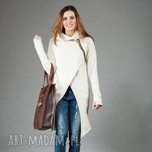 Płaszcz Asmi z kapturem asymetryczny, długa-bluza, płaszcz-z-dzianiny, asymetryczny