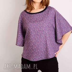 fioletowa bluzka z bawełny s/m, kolorowa, łączka, nietoperz, kwiaty, wzorek, kimono