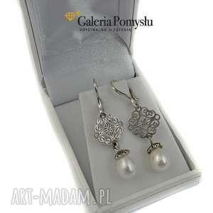 perły seashell, kolczyki, perły, srebro, 925, ślubne, unikalny