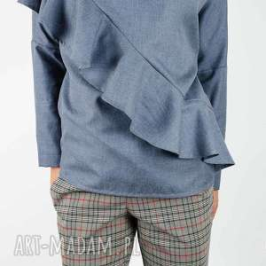 niebieska bluzka z falbaną, bluza, falbana, melanżowa, elegancka, oversize, casual
