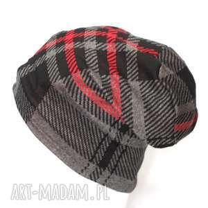 ruda klara czapka damska dzianinowa w kratkę, czapka, szara, rower, kratka