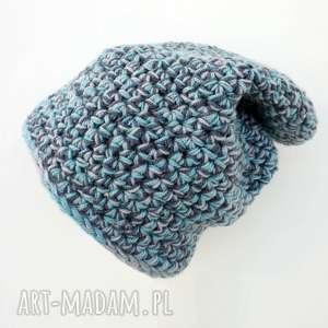 czapka hand made no 030 beanie szydło - ciepła, narciarska, casual