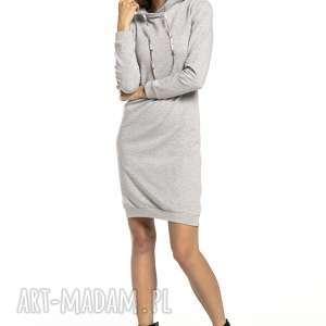 sukienki sukienka sportowa z kapturem wzorzystymi dodatkami, t293, jasnoszara / wzór
